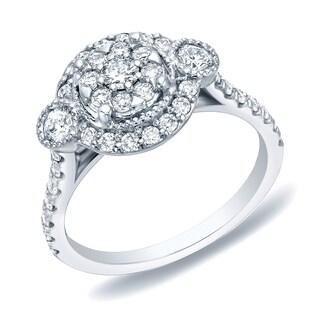 Auriya 14k White Gold 1ct TDW Diamond Cluster Engagement Ring