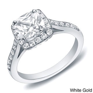Auriya 14k Gold 2ct TDW Certified Cushion-cut Diamond Engagement Ring