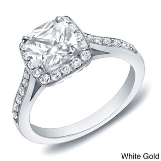 Auriya 14k Gold 2ct TDW Certified Cushion-cut Diamond Halo Engagement Ring