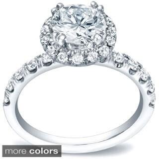 Auriya 14k Gold 1 3/5ct TDW Certified Round Diamond Engagement Ring