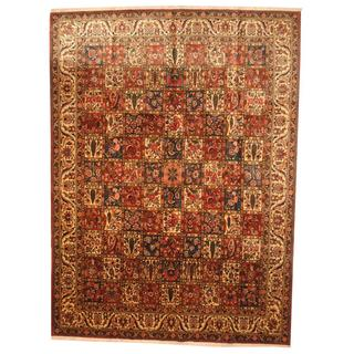 Herat Oriental Antique 1960's Persian Hand-knotted Bakhtiari Rust/ Ivory Wool Rug (9'9 x 13'4)