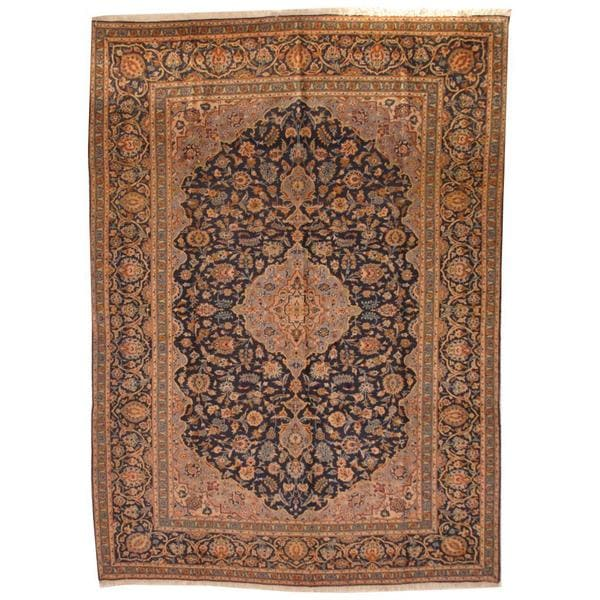 Shop Antique 1960's Persian Hand-knotted Kashan Navy