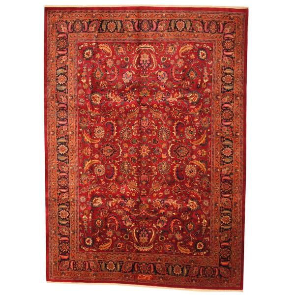 Herat Oriental Persian Hand-knotted 1960s Semi-antique Mashad Wool Rug - 9'8 x 12'8