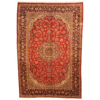 Herat Oriental Antique 1960s Persian Hand-knotted Isfahan Red/ Navy Wool Rug (9'3 x 13'7)