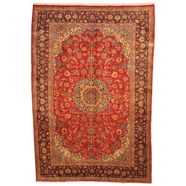 Herat Oriental Antique 1960s Persian Hand-knotted Isfahan Red/ Navy Wool Rug (9'3 x 13'7) - 9'3 x 13'7