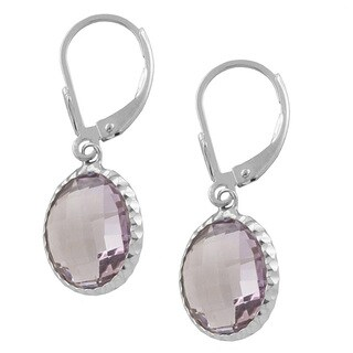 Fremada Sterling Silver Round Pink Amethyst Drop Earrings