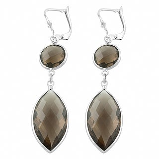 Fremada Sterling Silver Round and Marquise Smokey Quartz Dangle Earrings