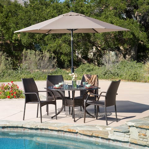 Libson Circular Outdoor Cast and Wicker 5-piece Set by Christopher Knight Home