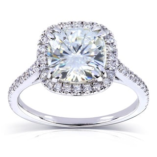 Annello by Kobelli 14k White Gold 2 1/4ct TGW Forever Brilliant Cushion Cut Moissanite and Diamond Halo Engagement Ring