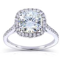 Annello by Kobelli 14k White Gold 2 1/4ct TGW Cushion Cut Moissanite and Diamond Halo Engagement Ring