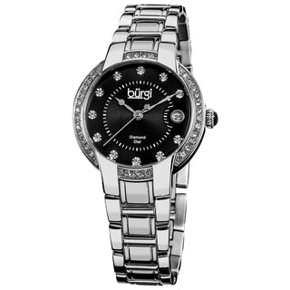 Burgi Women's Stainless Steel Diamond Date Silver-Tone Bracelet Watch