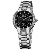 Burgi Women's Stainless Steel Diamond Date Silver-Tone Bracelet Watch