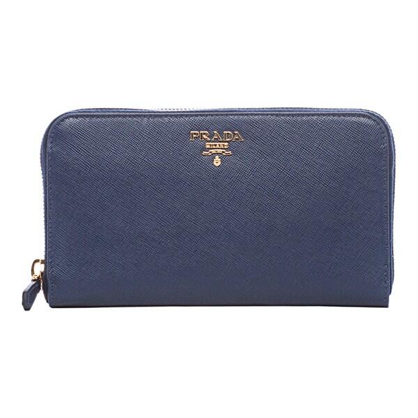 6224c57b8b43 Shop Prada 'Oro' Blue Saffiano Leather Zip-around Wallet - Free ...