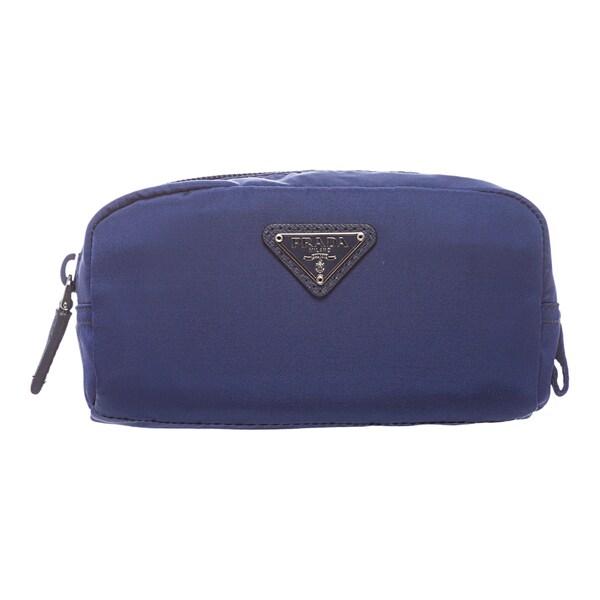 Prada 'Vela' Cobalt Nylon Zip-around Cosmetic Case