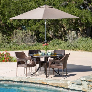 Cliff Circular Outdoor Cast and Wicker 5-piece Set by Christopher Knight Home