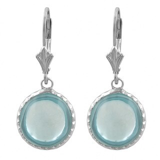 Fremada Sterling Silver Cabochon Round Blue Topaz Dangle Earrings
