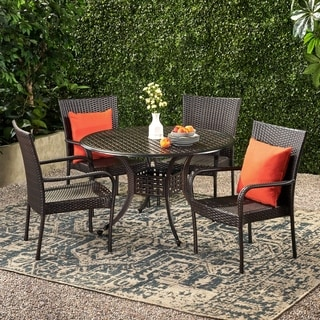 Littleton Circular Outdoor Cast And Wicker 5 Piece Set By Christopher  Knight Home