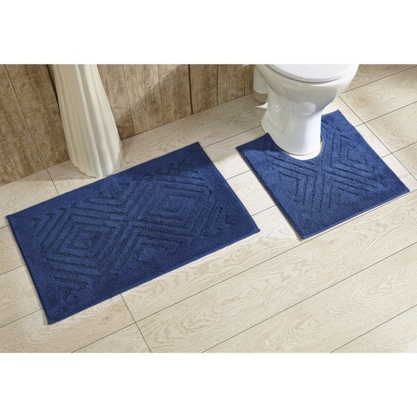 Trier Cotton Non-skid 2-piece Contour and Bath Rug Set by Better Trends