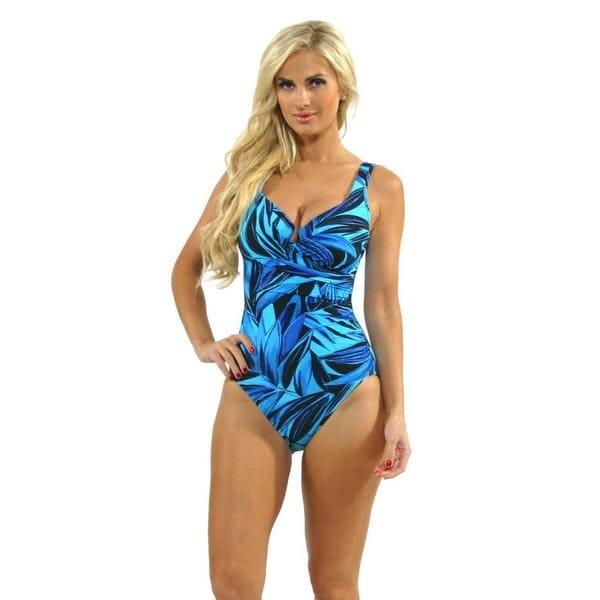 50fe85dfc80 ... Swimwear; /; One-piece Swimwear. Miraclesuit Women's  'Escape' Blue Leaf