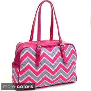 Neon Chevron Print Quilted Weekend Satchel