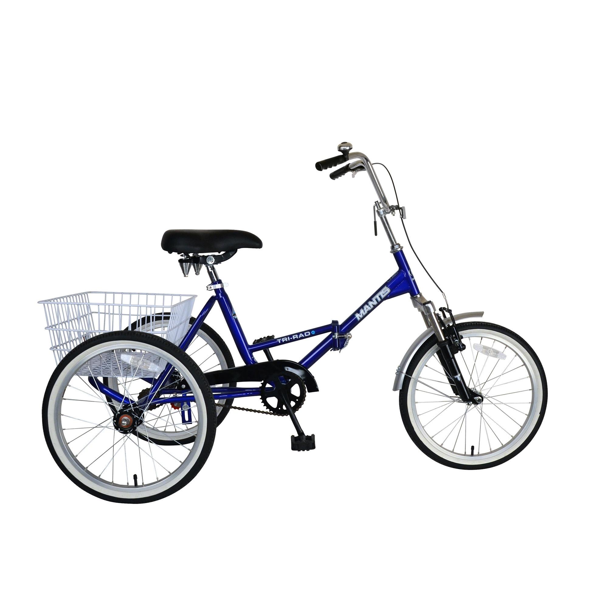 "20/"" Folding 7 Speed Tricycle Portable Bicycle 3 Wheel Foldable Trike Bike Cyan"