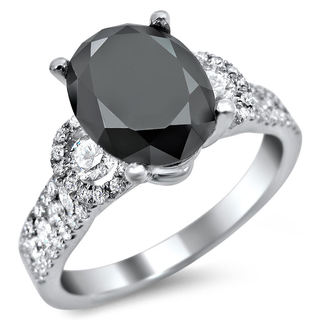 Noori 18k White Gold 2 3/4ct Oval Black and White Diamond Engagement Ring (G-H, SI1-SI2)