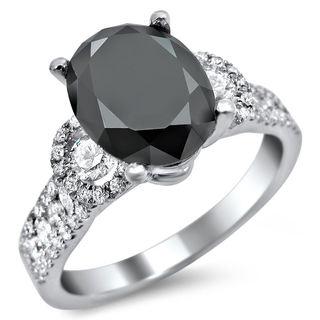 Noori 18k White Gold 2 3/4ct Oval Black and White Diamond Engagement Ring