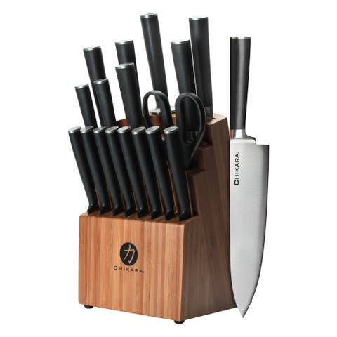 Ginsu Chikara Series Forged 19-Piece 420J Stainless Steel Knife Set, Bamboo Block