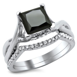 Noori 18k White Gold 2 1/10ct Black and White Princess-cut Diamond Bridal Ring Set (G-H, SI1-SI2)