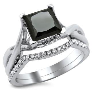 Noori 18k White Gold 2 1/10ct Black and White Princess-cut Diamond Bridal Ring Set (G-H, SI1-SI2)