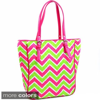 Neon Chevron Print Quilted Weekend Tote