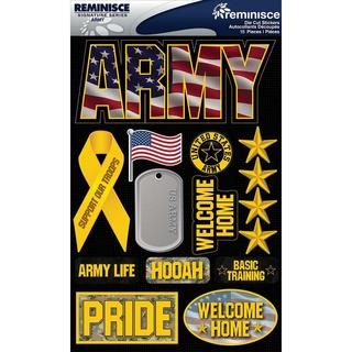 Signature Dimensional Stickers 4.5 X6  Sheet - Army