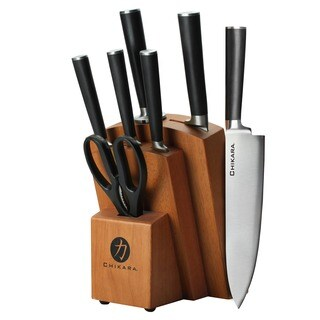 Ginsu Chikara Series Forged 8-piece Japanese Steel Knife Cutlery Set with 420J Stainless Steel Knives in a Hardwood Block