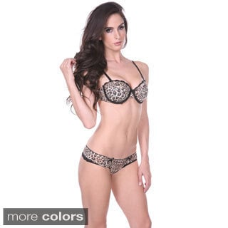 Stanzino Women's Sexy Animal Print 2-piece Lingerie Set