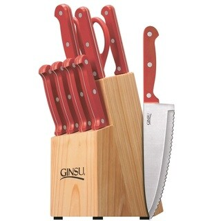 Ginsu Essential Series Stainless Steel Serrated Knife Set  Cutlery Set with Red Kitchen Knives in a Natural Block, 05160DS
