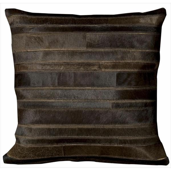 Mina Victory Natural Leather and Hide  Sable Throw Pillow (20-inch x 20-inch) by Nourison