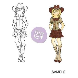 Mixed Media Doll Cling Rubber Stamps - Becky Cowgirl