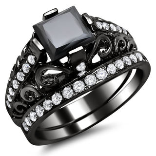Noori 14k Black Gold 2 1/10ct TDW Black Swirl Design Diamond Bridal Ring Set