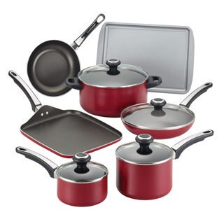 Farberware High Performance Nonstick Aluminum 17-piece Red Cookware Set with $10 Mail-in Rebate
