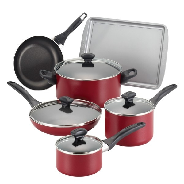 Farberware Dishwasher Safe Nonstick 15-piece Red Cookware Set. Opens flyout.