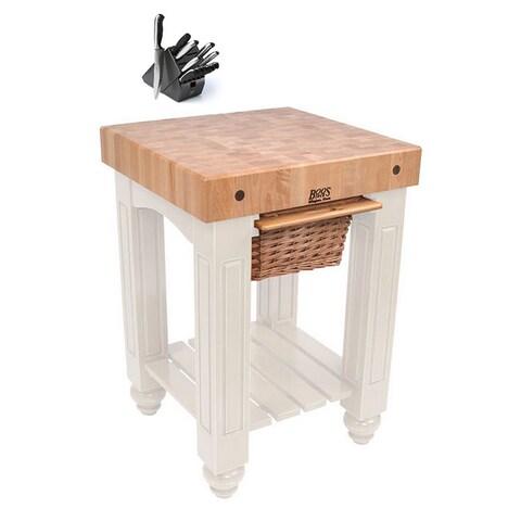 John Boos CU-GB25-AL Alabaster Slide-out Cutting Board Gathering Block Table (25x24 inch) With Henckels 13 Piece Knife Block Set