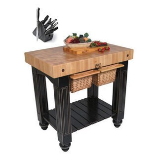 John Boos CU-GB3624-BL Black Double Basket Slide-out 36x24 Cutting Board Gathering Block Table and Henckels 13 Piece Knife Block
