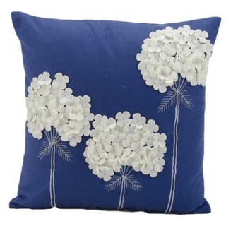 Nourison Mina Victory 18-inch Blue Felt Throw Pillow