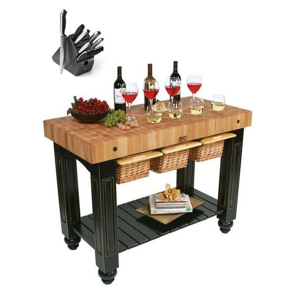 48x24 Butcher Block Table Wicker Baskets: Shop John Boos CU-GB4824-BL Black Slide-out Three-basket