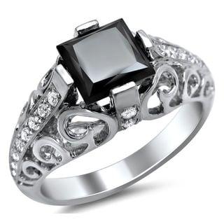 Noori 14k White Gold 1 3/4ct TDW Black Swirl Design Diamond Ring