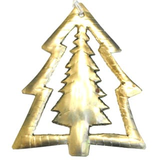 Handmade Metal Double Tree Ornament (India)