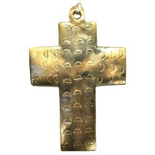 Handmade Metal Square Cross Ornament (India)