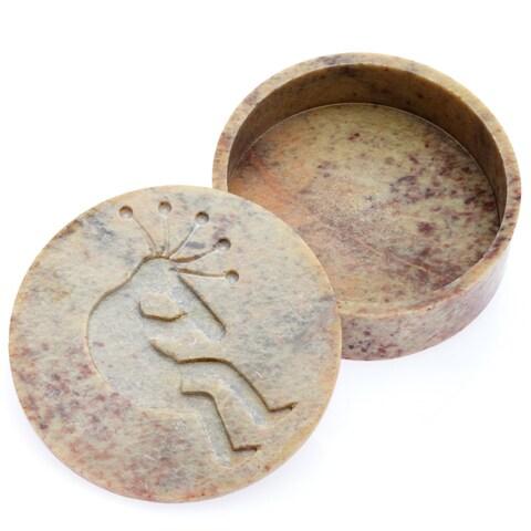 Kokopelli Engraved Soapstone Jewelry Box