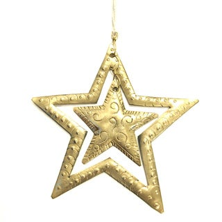 Double Star Handmade Metal Ornament (India)