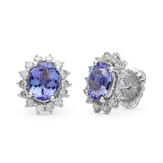 Kabella 14k White Gold Tanzanite and 1 1/10ct TDW Diamond Flower Stud Earrings (H-I, I1-I2)